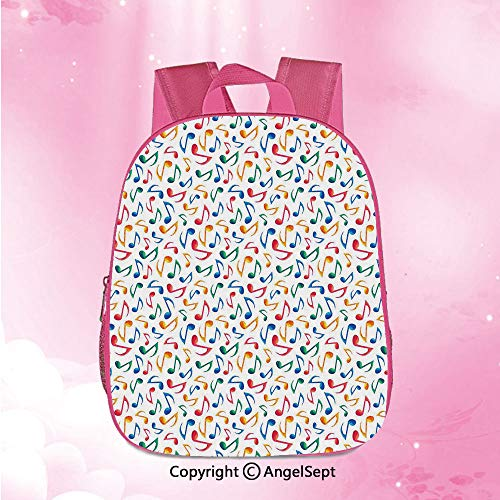 Custom Kid Schoolbag Lightweight Foldable,Cute Musical Notes Melody Kids Beats Watercolor Radio Rhythm Vibes Artful Design DecorativeMulticolor12.6inches,Schoolbag Travel Bookbag for Kindergarten ()