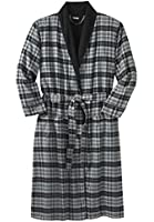 Kingsize Men's Big & Tall Jersey Lined Flannel Robe