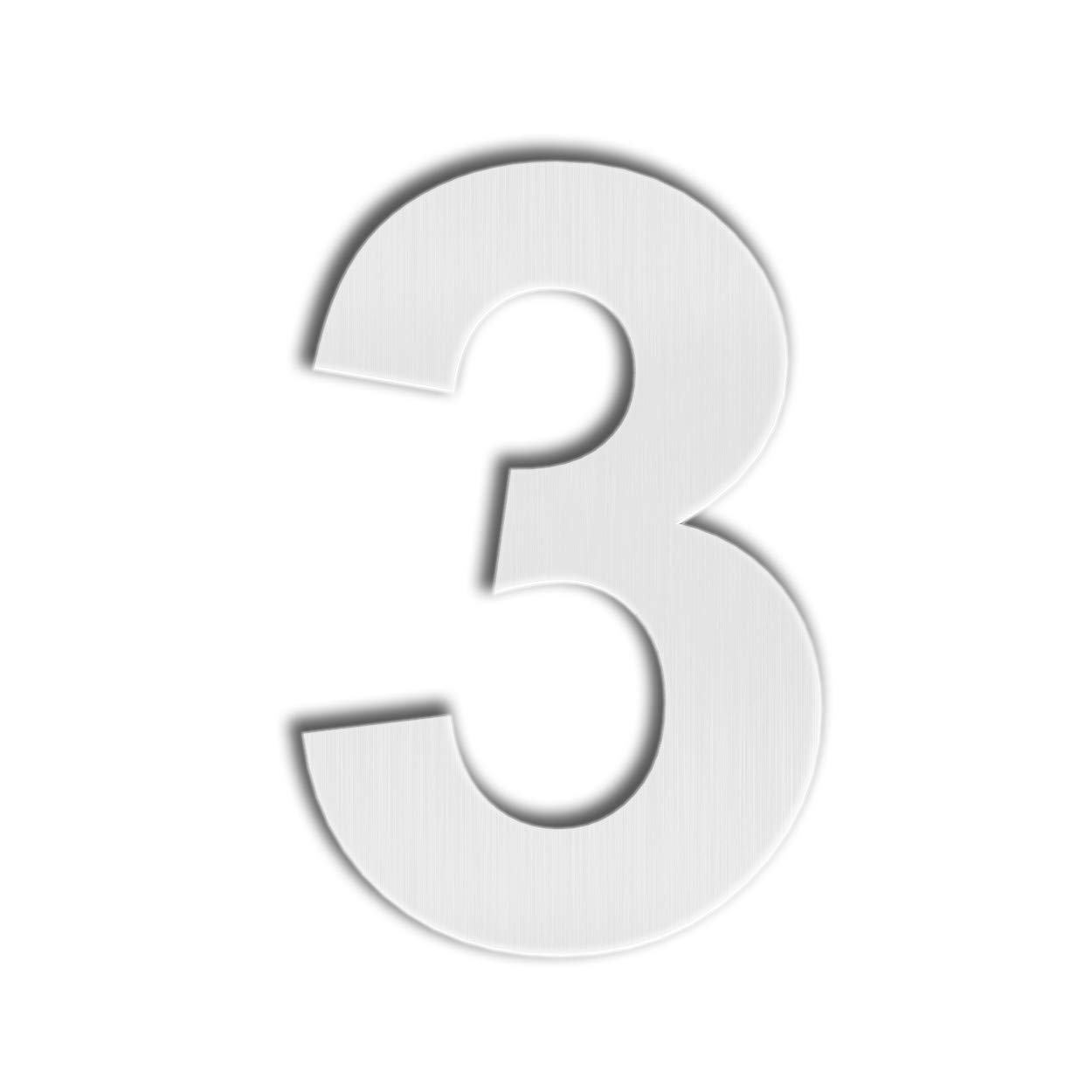 QT Modern House Number - SMALL 4 Inch - Brushed Stainless Steel (Number 3 Three), Floating Appearance, Easy to install and made of solid 304
