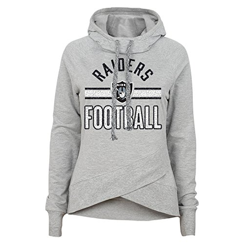 Outerstuff NFL Junior Girls Flow Funnel Neck Hoodie, Oakland Raiders, Heather Grey, L(11-13)