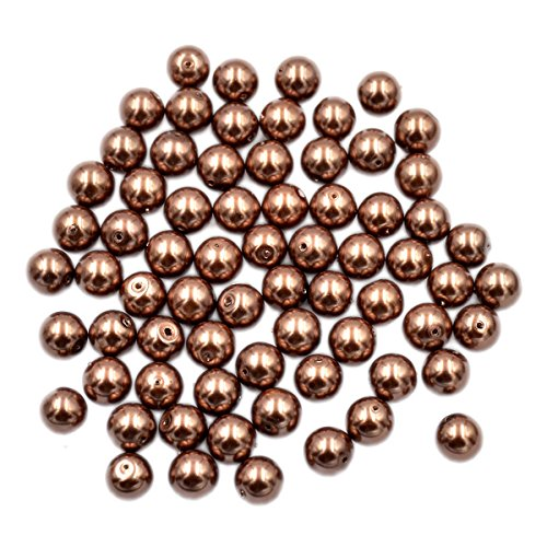 4mm Round Czech Glass Pearl - AD Beads Top Quality Czech Glass Pearl Round Loose Beads 3mm 4mm 6mm 8mm 10mm 12mm (4mm (200 Pcs), Copper Brown)