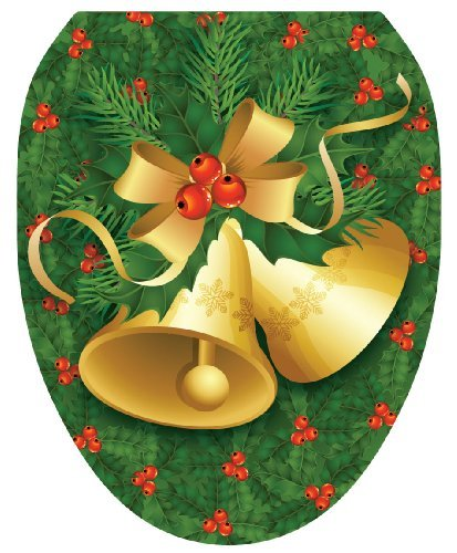 Toilet Tattoos TT-X611-O Christmas Bells Decorative Applique For Toilet Lid, Elongated by Toilet Tattoos