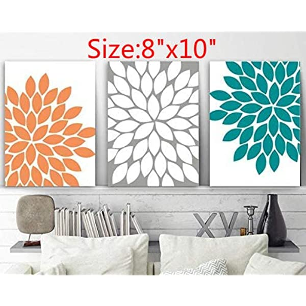 Amazon Com Blafitance Flower Wall Art Orange Teal Gray Bedroom Canvas Or Prints Bathroom Decor Flower Bedroom Pictures Flower Petal Artwork Set Of 3 Pictures Posters Prints