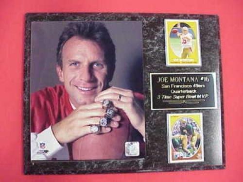 Francisco San Montana 49ers Ring (49ers Joe Montana 2 Card Collector Plaque w/8x10 Photo SUPER BOWL RINGS)