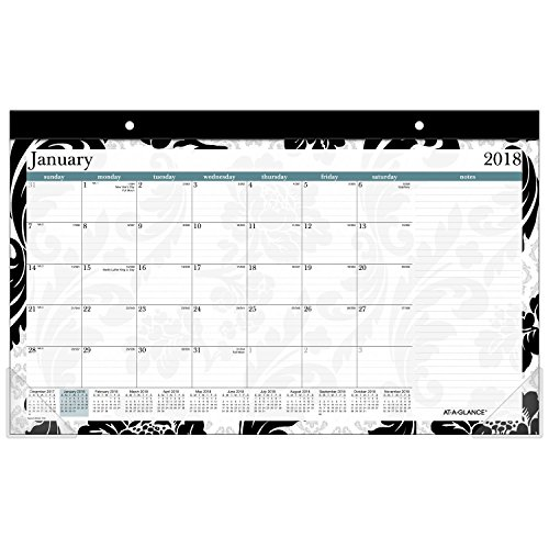 Monthly Desk Pad Calendar, January 2018 - December 2018, 17-3/4