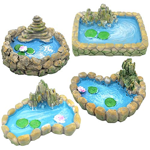 Trasfit 4 Pieces Fairy Garden Miniature Pond Ornaments Accessories for Miniature Garden Accessories, Home Micro…
