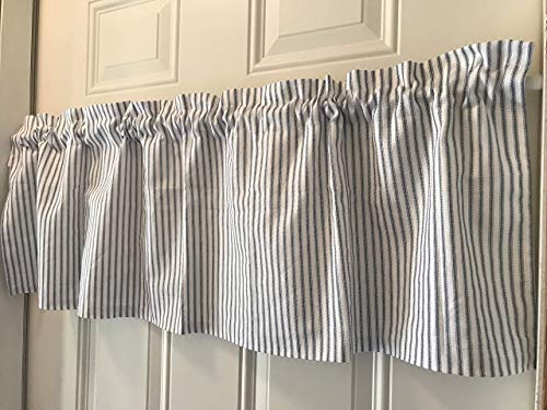 Black and White Ticking Farmhouse Curtain Valance (Black Curtains Ticking)