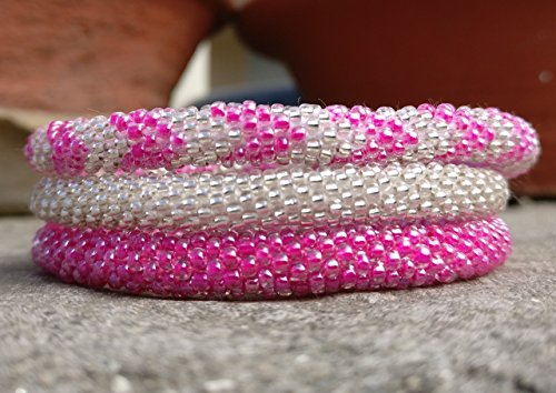 Neon Pink and Silver Chevron Patterned Crocheted Seed Beads Bracelet Set, Handmade in Nepal, Roll_in