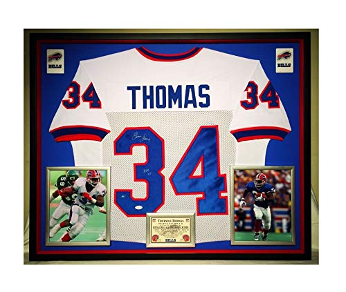 Premium Framed Thurman Thomas Autographed/Signed Buffalo Bills Jersey - JSA COA - Framed Thurman Thomas Buffalo