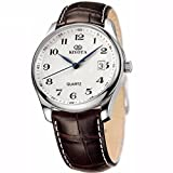 KINYUED Quartz Waterproof Business Casual Watch, with Stainless Steel Case and Italian Real Leather Band