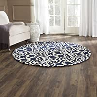 Safavieh Chatham Collection CHT729C Handmade Dark Blue and Ivory Premium Wool Round Area Rug (5 Diameter)