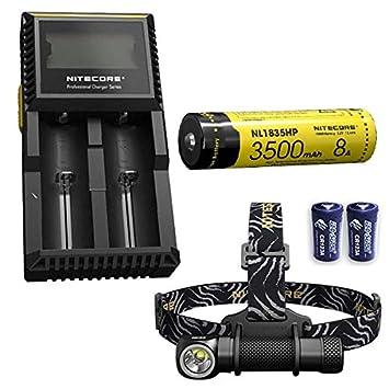 Nitecore HC33 Cree XHP35 - Linterna frontal de alta intensidad, 1800 lúmenes con cargador D2, batería NL1835HP 3500 mAh 18650 y 2 baterías Eco-Sensa ...