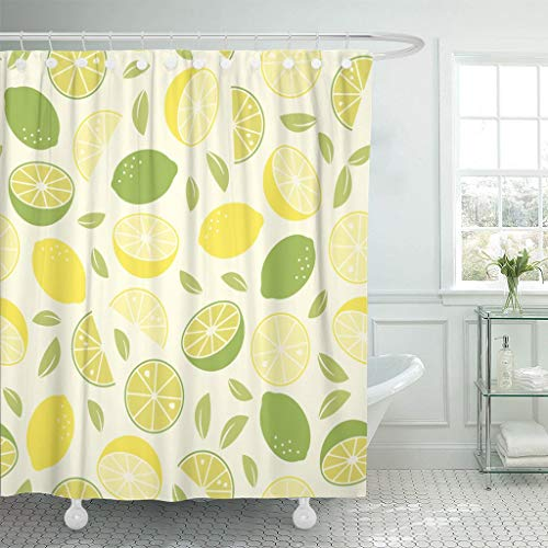 (Emvency Fabric Shower Curtain with Hooks Food Citrus Fruit Pattern with Lemons and Limes Healthy Eating Leaves Pastel Slices 72