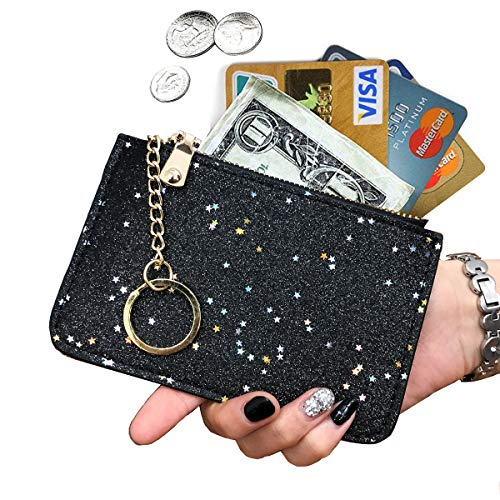 AnnabelZ Coin Purse Change Wallet Pouch Bling Card Holder with Key Chain Zip (Black)