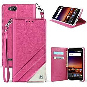 ZTE Blade Vantage Case, ZTE Tempo X Case, Customerfirst Luxury PU Leather Wallet Flip Protective Case Cover Card Slots Stand ZTE Blade Vantage Z839/ZTE Tempo X N9137 (Pink)