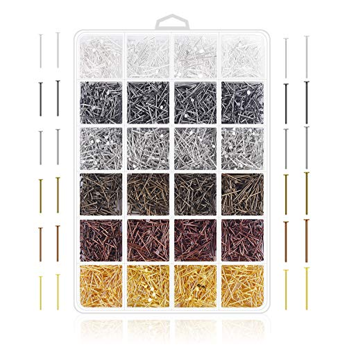 Jewelry Making Pins Supplies - 2400Pcs Jewelry Head Pins and Eye Pins for Charm Beads DIY Making (Head pin) (Jewelry Making Supplies Head Pins)