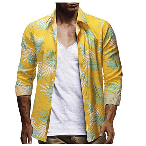 Simayixx Men's V Neck Summer Tops Casual Summer Tunic Shirts Hawaiian Tee Shirts Big and Tall Beach Clothes Yellow ()