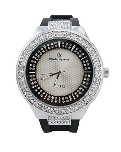 Luxurious Rappers Best Hip Hop Bling Bling Iced Look Watch with Crafted Dial - 8623 Silver Black