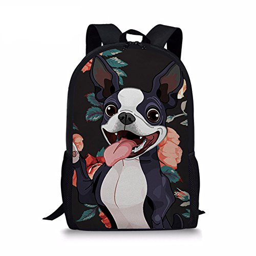 - Youngerbaby Casual Backpack Dog Print School Bag Students Kids Travel Backpacks (Boston Terrier Black)