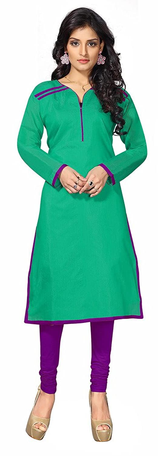 Khushali Presents Chanderi Stylish Kurti(Rama Green)