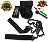 Pocket Camping Survival Gear- Emergency Kit Firestarter & Pocket Chainsaw- Magnesium Fire Rod, 36 Inch Saw Handsaw – Best For Hiking, Wood & Tree Cutting Multitool Folding Compact Camp Saw By SUMPRI