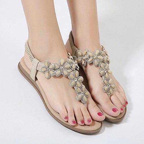 HGDR Women Sandals,Summer Bohemia Rhinestone Clip Toe Sandals Flats Ladies Boho Beach Sandals Shoes Beige