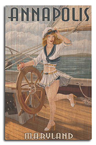 Lantern Press Annapolis, Maryland - Pinup Girl Sailing (10x15 Wood Wall Sign, Wall Decor Ready to Hang)