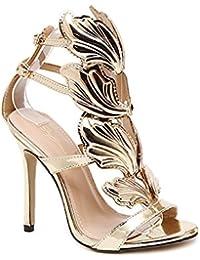 13aaa35e815e70 Women Stiletto Heel Metal Wings High-Heeled Exposed Toe Sandals Gold Nude  Black