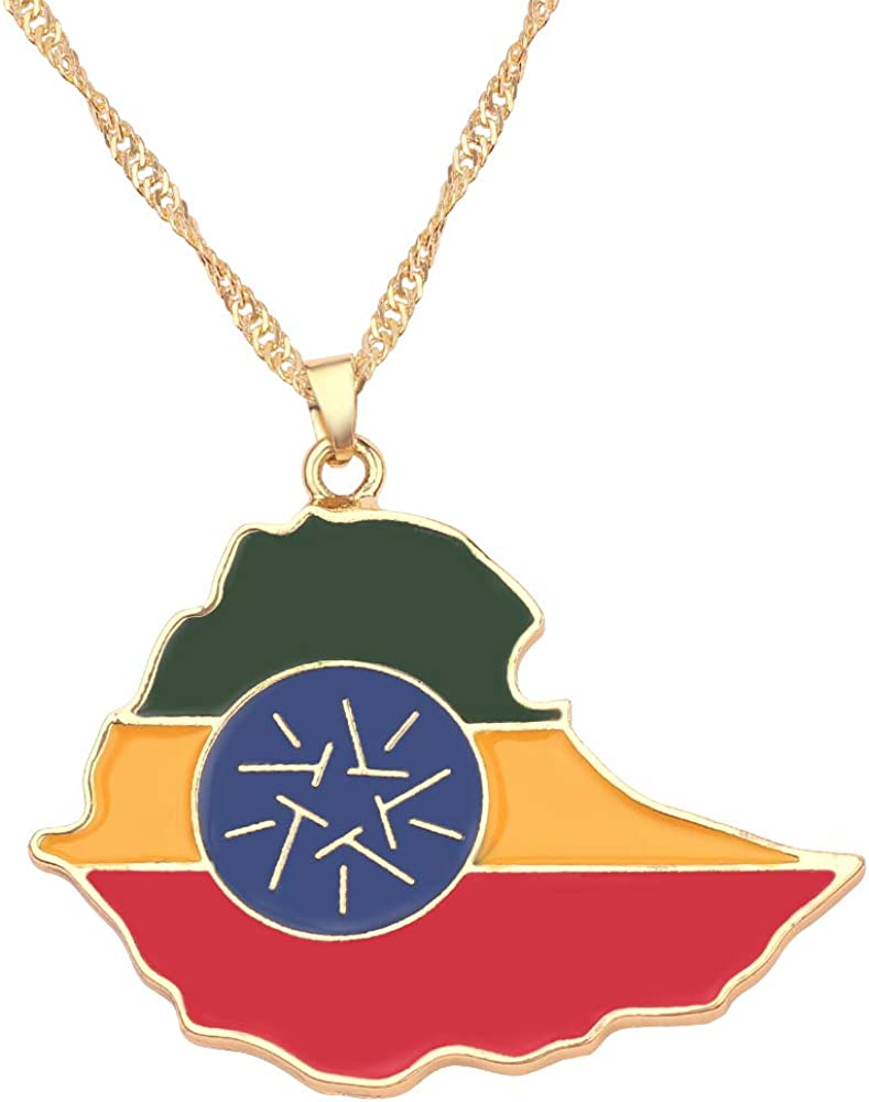 SWAOOS National Flag Pattern Map Pendant Necklace South Sudan Australian Metal Necklace Jewelry Gifts for Men Women