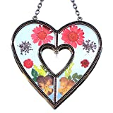 Stained Glass Suncatcher Heart Suncatcher with Real Embedded Pressed Flower Heart Window Ornament Decoration Birthday Gift for Mom Grandma Friend Sister Love Nurse Chain for Hanging Metal and Glass