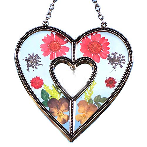 Stained Glass Heart Suncatcher Windows with Real Embedded Hand Pressed Flower Heart Window Ornament Decoration Birthday Gift for Mom Grandma Friend Sister Love Nurse Chain for Hanging Metal and Glass