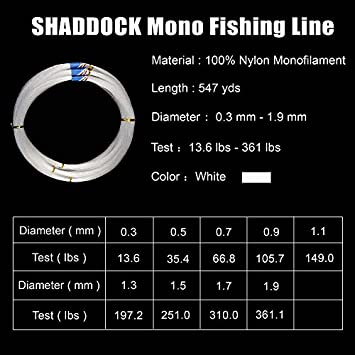Monofilament Fishing Line 547yds 13 lb.-396 lb. Nylon Mono Fishing Lines – Super Strong Monofilament Fishing Leader Line Speargun Line Saltwater Freshwater