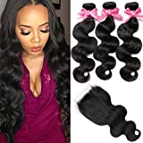 Free Queen 8A Brazilian Virgin Hair 3 Bundles with Closure Body Wave100% Unprocessed Human Hair Weave With Lace Closure (18'' 20'' 22''+16''closure, Free Part)