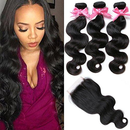 Free Queen 8A Brazilian Virgin Hair 3 Bundles with Closure Body Wave100% Unprocessed Human Hair Weave With Lace Closure (18'' 20'' 22''+16''closure, Free Part) by Free Queen