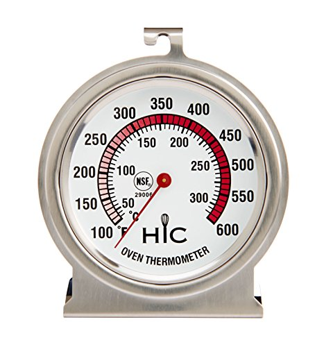 (HIC Harold Import 29006 HIC Roasting Oven Thermometer, Large 2.5-Inch Easy-Read Face, Stainless Steel,)