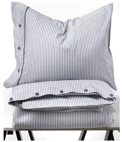 Beautiful White and Blue Striped Pattern Duvet Cover and Pillowcases Twin Size Ikea Nyponros