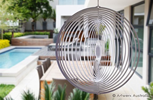Stainless Steel Wind Spinner Circle, Premium, Indoor, Outdoor, Shimmering, Hanging - Marine Grade Stainless Steel. Ideal for Coastal Environments (8 Inch) Australian Made Wind Spinners. (Where To Buy Angel Wings)