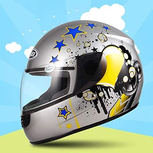 NJ ヘルメット- ABS子供のヘルメットオートバイ男の子女の子フルフェイスヘルメット赤ちゃん電気自動車ヘルメット四季ユニバーサル (Color : Silver, Size : 48-53cm)