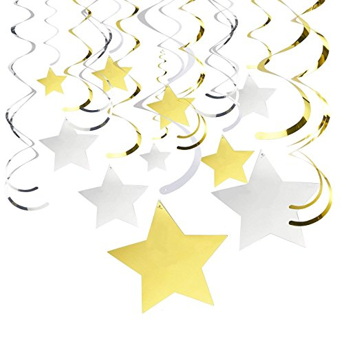 (30-Count Ceiling Swirl Decorations - Party Streamers, Gold and Silver Foil Star Whirls, Hanging Party Decor for Weddings, Baby Showers, Graduation - Hanging Length: 30.5 to 38.25)