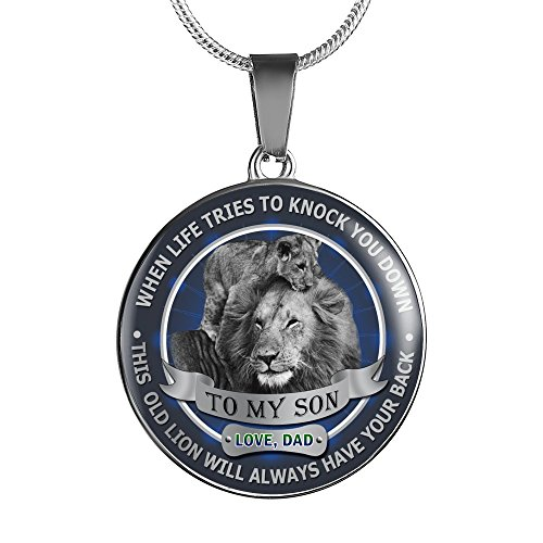 To My Son Pendant Necklace Love Dad Father and Son Lion - Inspirational Personalized Birthday Gifts for Teen Son, Tween Boy - This old Lion will always have your back by AZ Family Gift (Image #4)