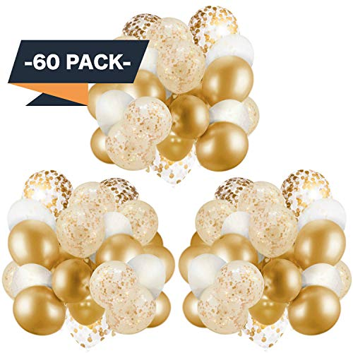60 Pack Gold Balloons + Gold Confetti Balloons w/Ribbon   Balloons Gold   Gold Balloon   Gold Latex Balloons   Golden Balloons   White and Gold Balloons 12 inch   Clear Balloons with Gold Confetti  