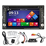 EinCar Windows CE 6.0 Double Din Stereo in Dash Car DVD Player GPS Navigation with LCD Touch Screen Support Bluetooth/USB/SD/HDD/FM/AM RDS Radio/Subwoofer/720P Video/Steering Wheel Control Plus Reverse Camera