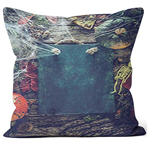 Nine City Invitation for Halloween Party Home Decorative Throw Pillow Cover,HD Printing Square Pillow case,16