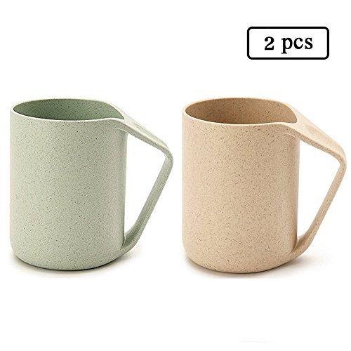 Light Green Mug - UPSTYLE Retro Eo-friendly Wheat Straw Lightweight Cup Biodegradable Mug Plastic Tumbler for Water, Coffee, Milk,Tea Size 13.5 oz (Beige&Green)