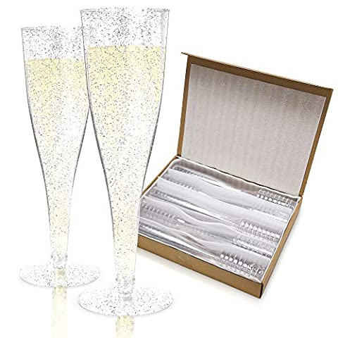 Plastic Champagne Flutes Disposable – 100 Pack | Silver Glitter Plastic Champagne Glasses for Parties | Glitter Clear…