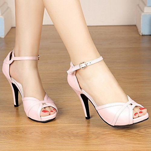 Sandals Black Buckle Heeled White Pink getmorebeauty Women's Toes Peep Dress THF6qw