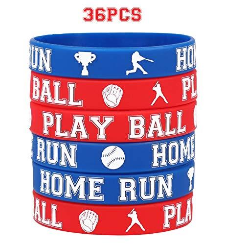 Baseball Rubber Wristband Bracelets - Kids Party Favors School Carnival Prize Sports Gifts Supplies