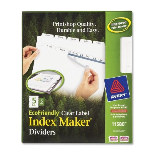 Wholesale CASE of 10 - Avery Eco-friendly Index Makers Dividers-Laser/Inkjet Dividers, 5-Tab, 5 Sets/PK, White