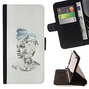 Momo Phone Case / Flip Funda de Cuero Case Cover - Pintura Chica Spring Fashion Sombrero Arte - Apple Iphone 6 PLUS 5.5