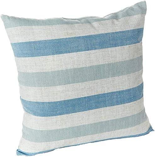 Klear Vu Liza Stripe Blue Coastal Linen Decorative Throw Pillow, 18 x 18 , Set of 2, 17 x 15.75